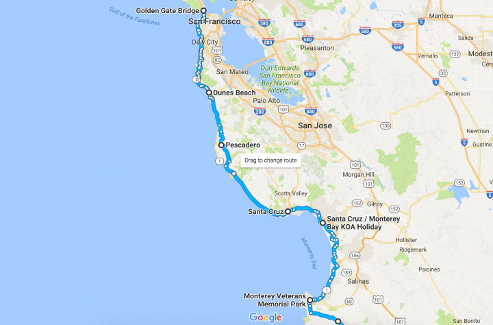 Pacific Coast Bicycle Tour - San Francisco to Monterey