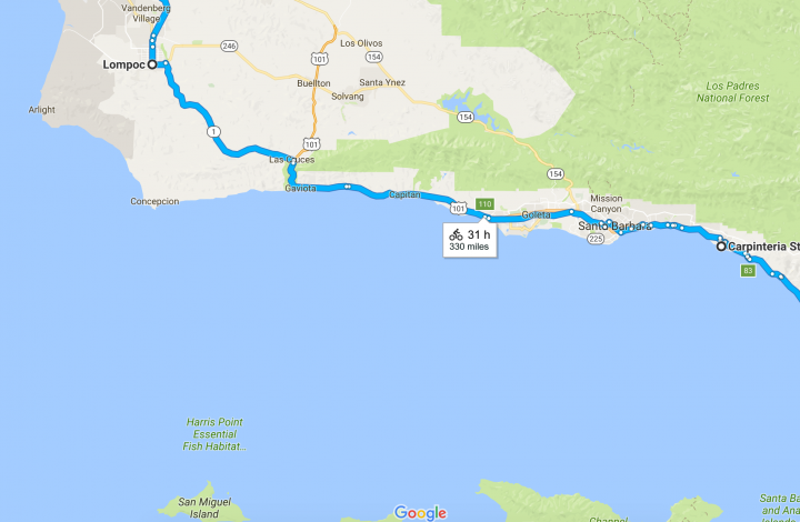 Pacific Coast Bicycle Tour - Lompoc to Carpinteria State Park