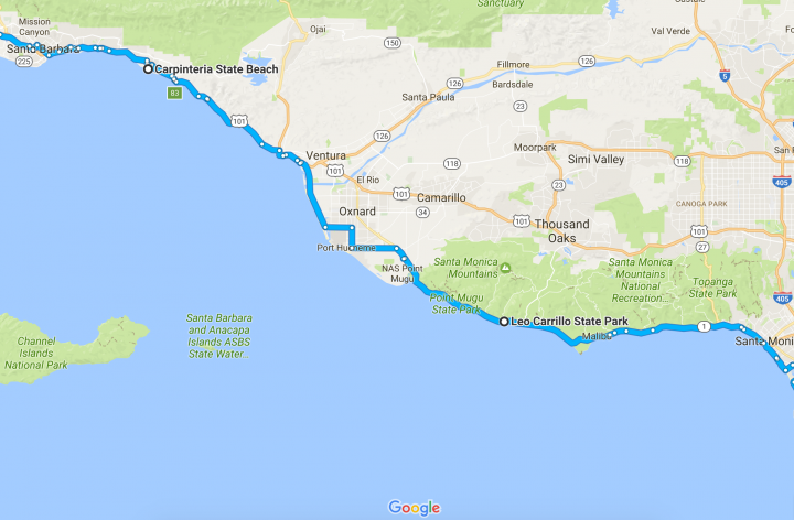 Pacific Coast Bicycle Tour - Carpinteria State Park
